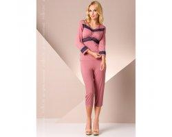 Розовая ночная пижама с кружевом M
