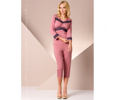 Розовая ночная пижама с кружевом L