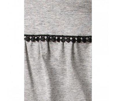Серая пижама с черным гипюром L