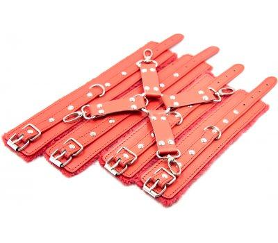 Бондажный красный набор для сковывания с плюшем
