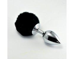 Анальная пробка с черным хвостом Small Silver Plug Ø 3 см