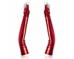 Красные перчатки с открытыми пальчиками