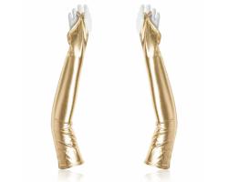 Золотистые перчатки с открытыми пальчиками