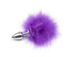 Анальная пробка с хвостиком кролика Silver Small, фиолетовый Ø 2,5 см