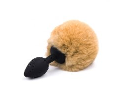 Черная силиконовая анальная пробка с хвостиком кролика, оранжевый Ø 2,5 см