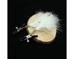 Зажимы для сосков с белыми перышками