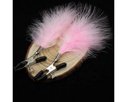 Зажимы для сосков с розовыми перышками