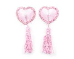 Соблазнительные розовые пэстисы в форме сердечек с кисточками