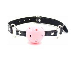 Розовый с черным кляп-шар БДСМ, Ø 4 см