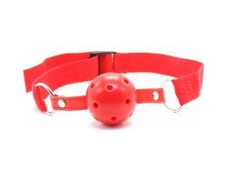 Красный кляп-шар БДСМ с нейлоновым ремешком, Ø 4 см