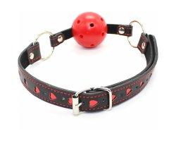 Красный БДСМ кляп-шар с сердечками, Ø 4,5 см