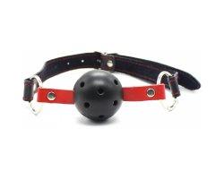 Черный БДСМ кляп-шар с красными строчками, Ø 4,5 см