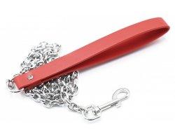 Красный поводок к БДСМ аксессуарам с цепочкой 84 см