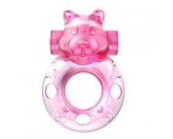 Розовое виброкольцо «Pink Bear»