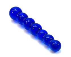 Синий стимулятор из стекла с шариками, 15 см