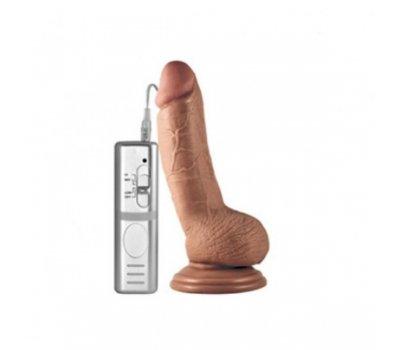 Вибратор с мошонкой Real Extreme мулат 18 см, Ø 3,5 см