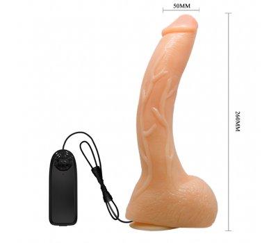 Вибратор с мошонкой на присоске, 26 см, Ø 5 см